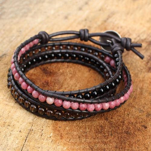Onyx Rhodonite Smoky Quartz and Leather Bracelet 'Elegant Enigma'