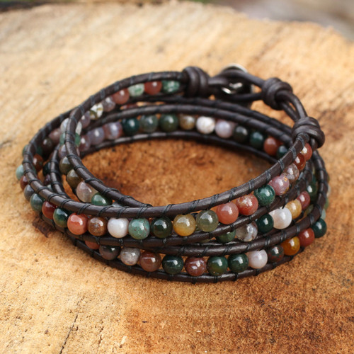 Multi-colored Jasper and Leather Wrap Bracelet 'Inner Nature'