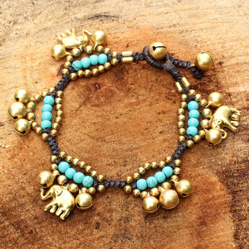 Elephant and Bell Charm Bracelet in Blue Gems and Brass 'Fortune's Blue Melody'