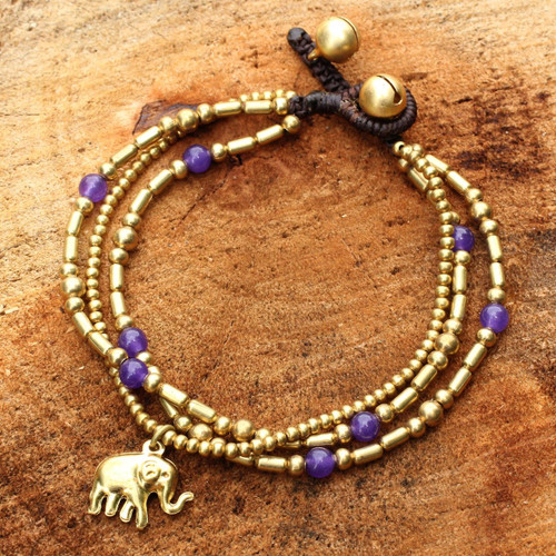 Brass Bracelet Purple-color Gems Beaded Jewelry 'Purple Elephant Charm'