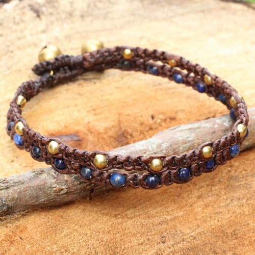 Brass Bracelet Lapis Lazuli Braided Jewelry 'Blue Boho Chic'