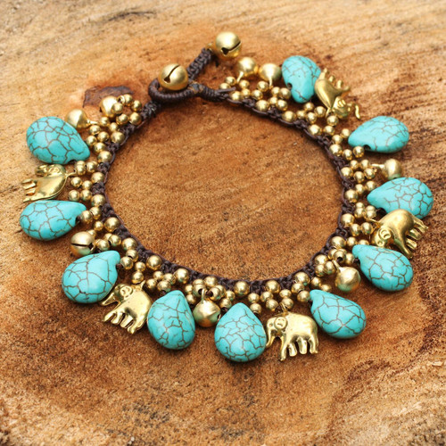 Brass Beaded Turquoise Colored Elephant Bracelet 'Siam Legacy'