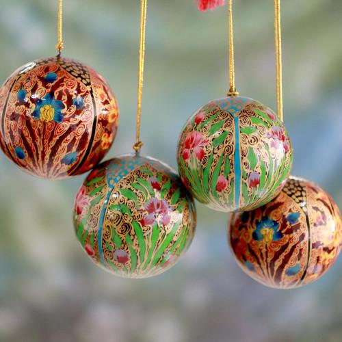 Set of 4 Handmade Papier Mache Christmas Ornaments 'Christmas Blossoms'
