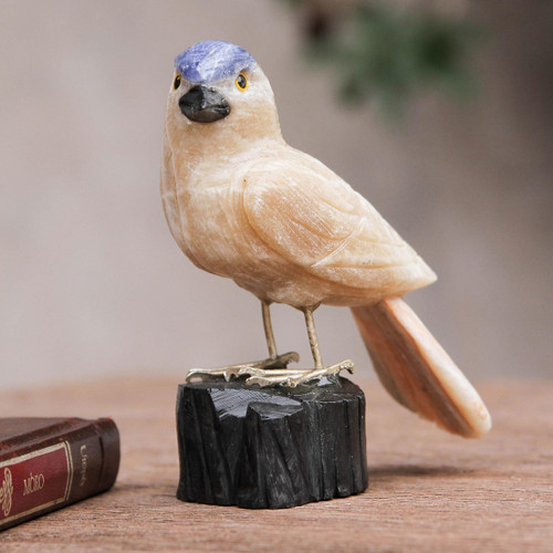 Bird Sculpture in Caramel Calcite on Onyx Stand 'Sparrow of Creativity'