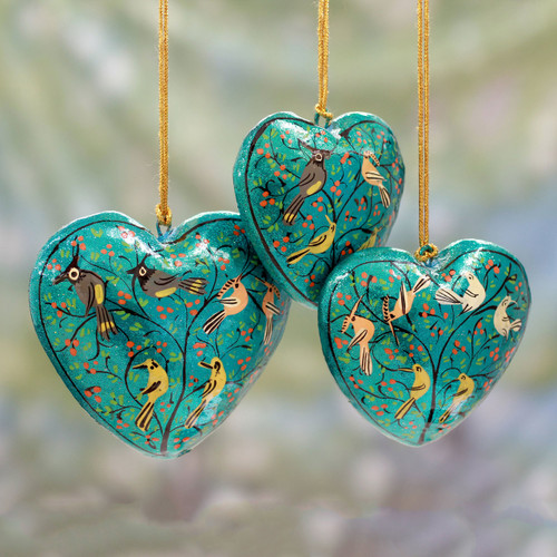 Handmade Papier Mache Heart Ornaments (Set of 3) 'Christmas Songbirds'
