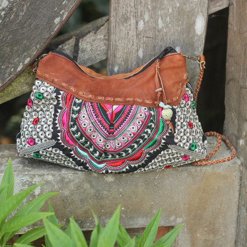 Mandarin Style Embroidered Handbag with Leather Trim 'Mandarin Geometry'