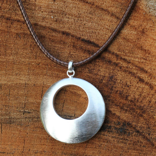Hand Made Brushed Silver Pendant Necklace 'Satin Moon'