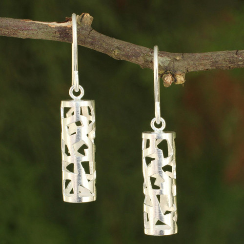 Modern Brushed Silver Earrings from Thailand 'Forest Shadow'