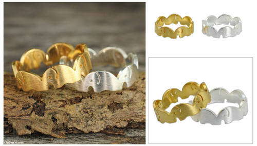 Gold Plated and Sterling Silver Band Rings (Pair) 'Romantic Elephants'