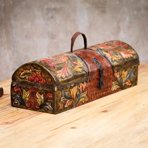 Handcrafted Tooled Leather Decorative Box 'Colonial Traditions'