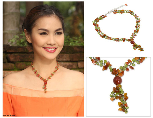Peridot and Carnelian Beaded Necklace from Thailand 'Spring Orange'