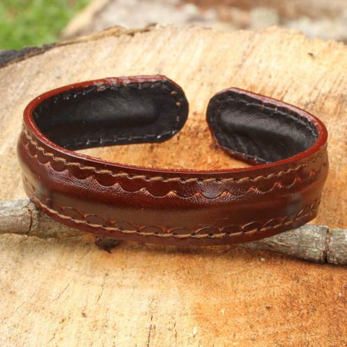Fair Trade Leather Cuff Bracelet for Men 'Solar Soul'