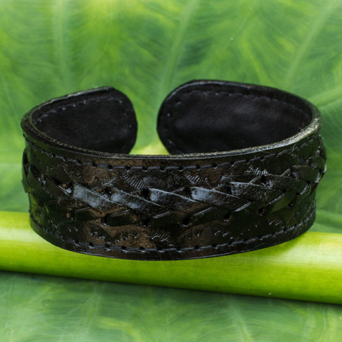 Fair Trade Black Leather Cuff Bracelet for Men 'Midnight Warrior'