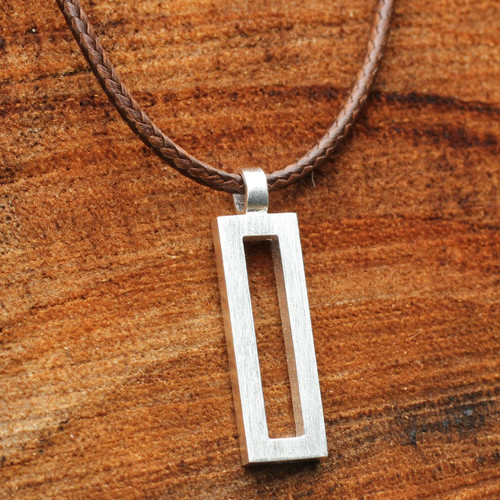 Thai Brushed Silver Necklace 'View'