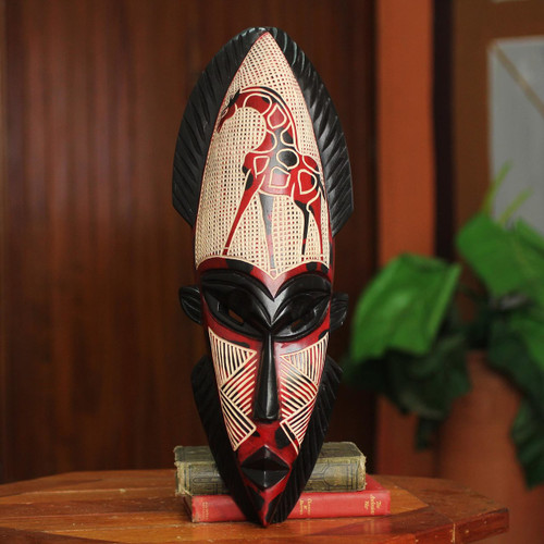 Hand Carved Wood Mask 'African Giraffe Spirit II'