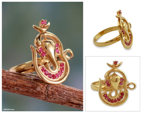 India Gold Vermeil Ruby Ganesha Ring 'Om Ganesha'
