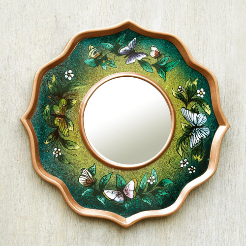 Blue and Green Reverse Painted Glass Butterfly Mirror 'Turquoise Butterfly Sky'