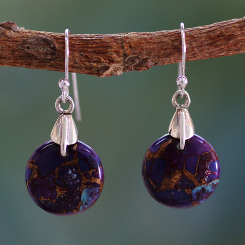 Purple Turquoise Sphere Earrings India Artisan Jewelry 'Moon of Enigma'