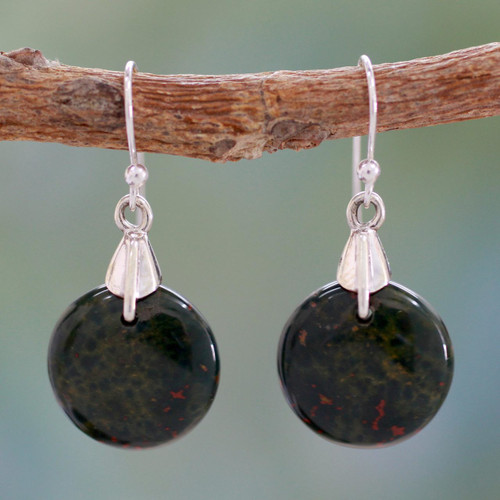 Bloodstone Sphere Earrings India Artisan Jewelry 'Moon of Justice'
