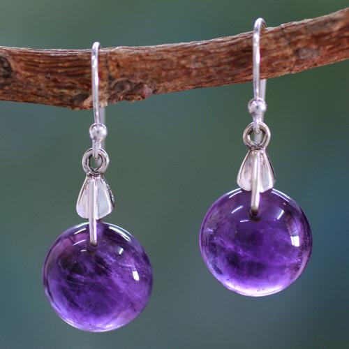 Amethyst Sphere Earrings India Artisan Jewelry 'Moon of Mysticism'