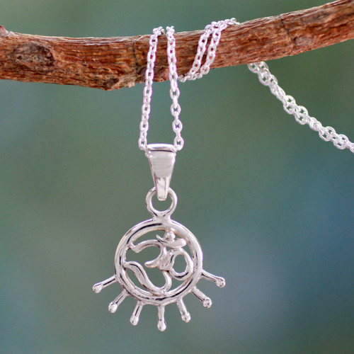 Handmade Sterling Silver Om Necklace 'Flames of Faith'