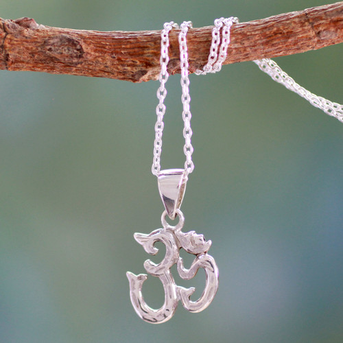 Spiritual Hand Crafted Sterling Necklace from India 'Om Mantra'