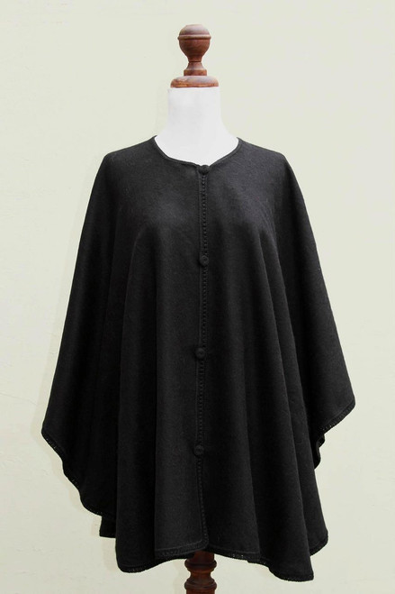 Andean Black Alpaca Blend Ruana Cape 'Midnight Chic'