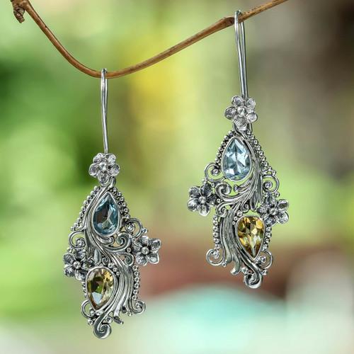 Balinese Citrine and Blue Topaz Earrings 'Plumeria Dew'