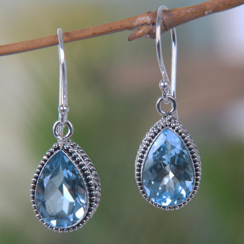 Handcrafted Blue Topaz and Sterling Silver Earrings 'Sparkling Dew'