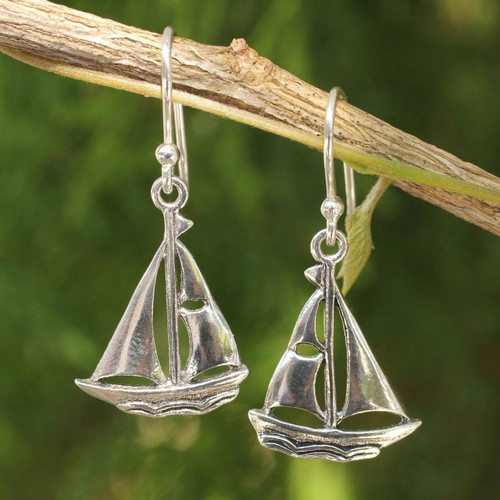 Sailboat Theme Sterling Silver Earrings 'Mariner'