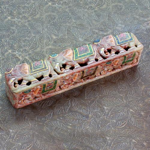 Soapstone Elephant Incense Holder Box 'The King's Elephants'