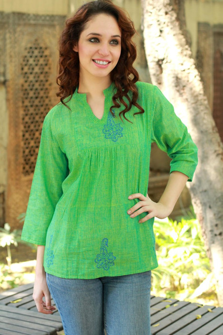 Block Print Green Cotton Tunic Top 'Lapis Paisley'