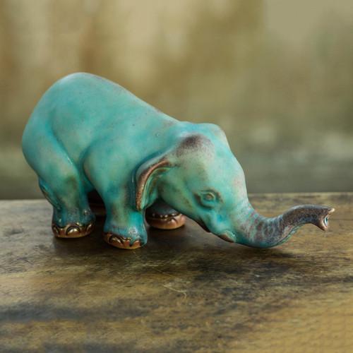 Artisan Crafted Ceramic Statuette 'Turquoise Elephant Sawasdee'