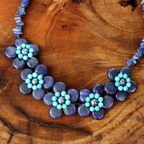 Lapis Lazuli Grey Pearls and Turquoise Colored Necklace 'Daisy Ocean'