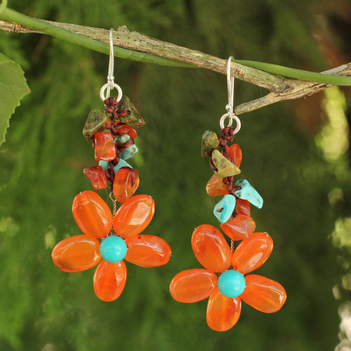 Carnelian Handcrafted Earrings 'Sunny Blooms'