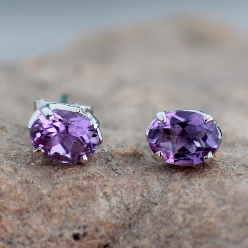 2 Carat Amethyst Stud Earrings from India 'Scintillate'