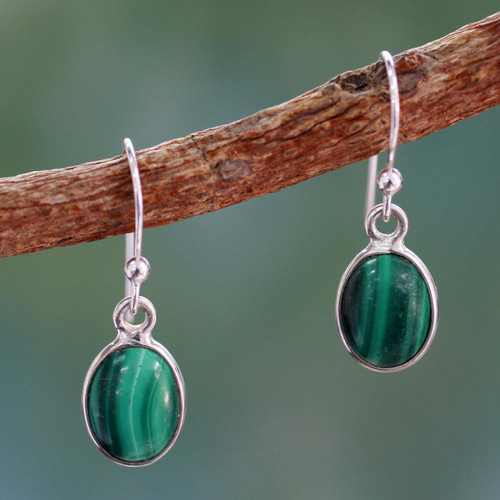 Silver and Malachite Earrings Crafted in India 'Verdant Paths'