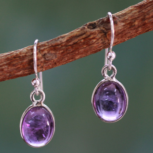 Silver and Amethyst Earrings Crafted in India 'Luminous Lilac'
