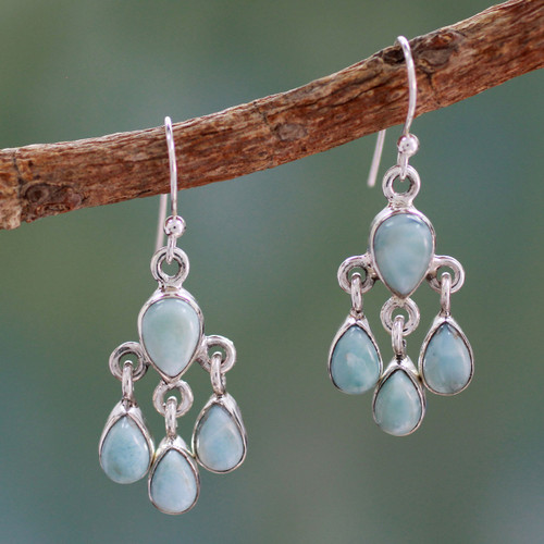 Handmade Larimar and Sterling Silver Chandelier Earrings 'Sky Drops'