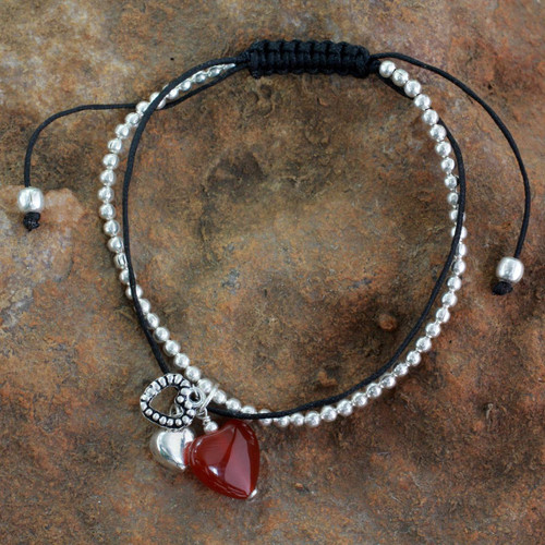 Carnelian and Silver Heart Theme Charm Bracelet 'Love Charm'