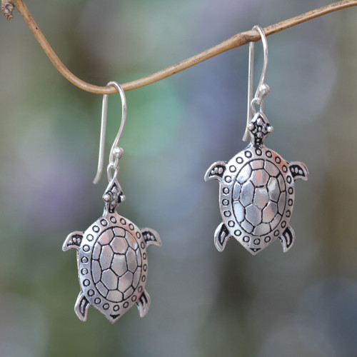 Handcrafted Silver Turtle Earrings 'Turtle of the Sea'