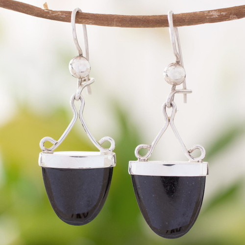 Artisan Crafted Black Jade and Sterling Silver Earrings 'Power of Life'