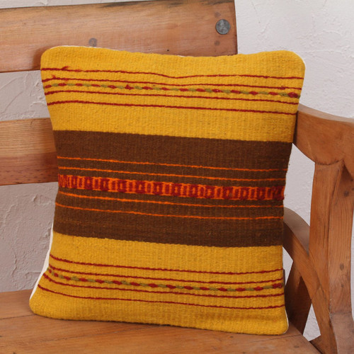 Handcrafted Wool Zapotec Cushion Cover 'Zapotec Vibes'