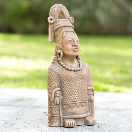 Collectible Maya Ceramic Sculpture Museum Replica 'Maya Lady of Weaves'