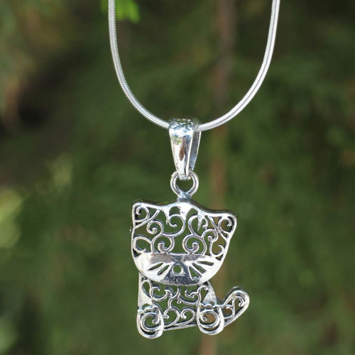 Thai Filigree Sterling Silver Necklace 'Filigree Kitten'