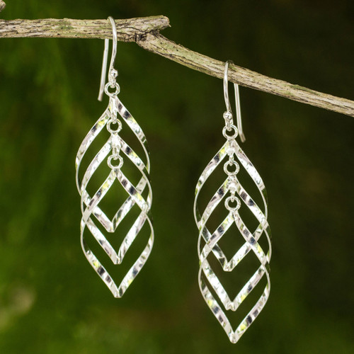 Handmade Thai Sterling Silver Dangle Earrings 'Leaf Cluster'