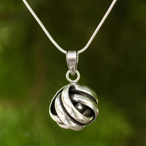 Artisan Crafted Silver Pendant Necklace 'Double Love Knot'