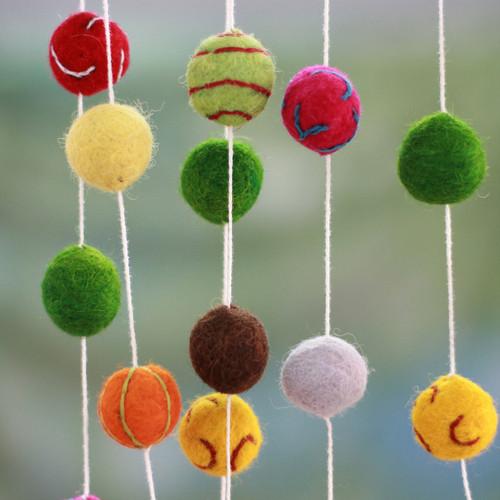 Embroidered Handmade Felt Holiday Garland 'Gumdrop Pompoms'
