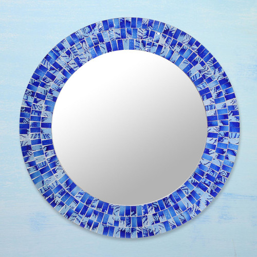 Handcrafted Glass Tile Round Wall Mirror 'Tropical Fusion'