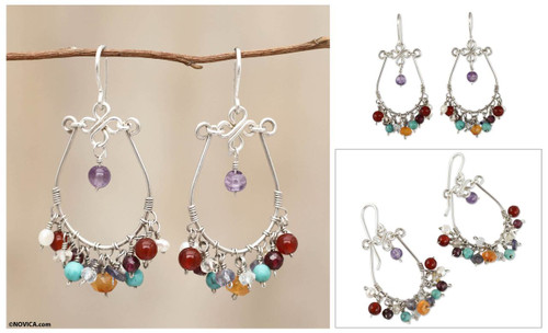 Cultured Pearl and Gemstone Chandelier Earrings 'Color Bouquet'